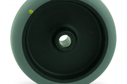 Wheel 100mm for light trolleys made from electric conductive grey rubber,plain bearing.