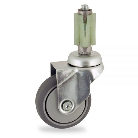 Zinc plated swivel caster 75mm for light trolleys,wheel made of grey rubber,plain bearing.Fitting with square expander socket 31/35
