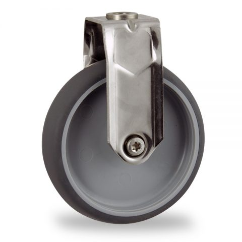 Stainless fixed caster 125mm for light trolleys,wheel made of grey rubber,plain bearing.Hollow rivet