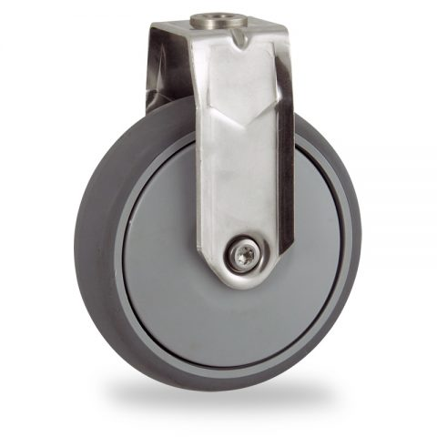 Stainless fixed caster 125mm for light trolleys,wheel made of grey rubber,single precision ball bearing.Hollow rivet