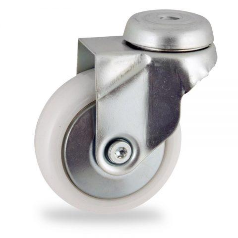 Zinc plated swivel caster 50mm for light trolleys,wheel made of polyamide,plain bearing.Hollow rivet