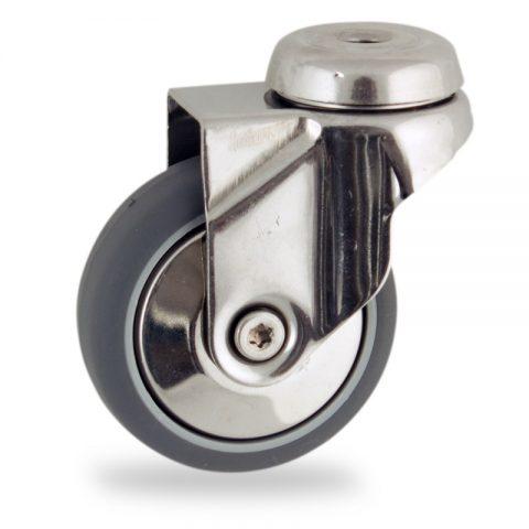 Stainless swivel caster 100mm for light trolleys,wheel made of grey rubber,plain bearing.Hollow rivet