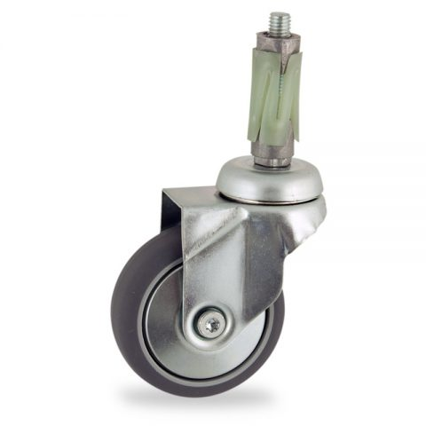 Zinc plated swivel caster 75mm for light trolleys,wheel made of grey rubber,double ball bearings.Fitting with round expander socket 19/23