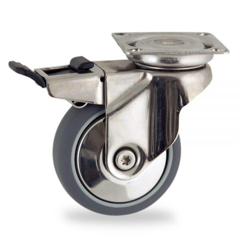 Stainless total lock caster 100mm for light trolleys,wheel made of grey rubber,plain bearing.Top plate fitting