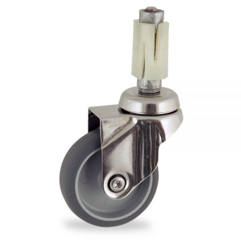 Stainless swivel caster 100mm for light trolleys,wheel made of grey rubber,double ball bearings.Fitting with square expander socket 27/31