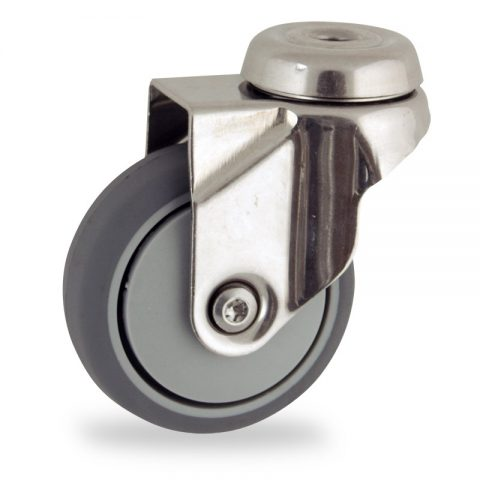 Stainless swivel caster 75mm for light trolleys,wheel made of grey rubber,plain bearing.Hollow rivet