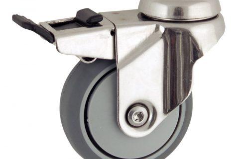 Stainless total lock caster 75mm for light trolleys,wheel made of grey rubber,plain bearing.Hollow rivet
