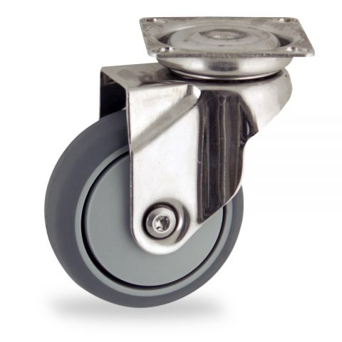 Stainless swivel caster 50mm for light trolleys,wheel made of grey rubber,precision bearing.Top plate fitting