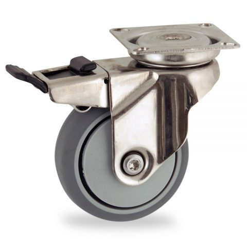 Stainless total lock caster 50mm for light trolleys,wheel made of grey rubber,precision bearing.Top plate fitting