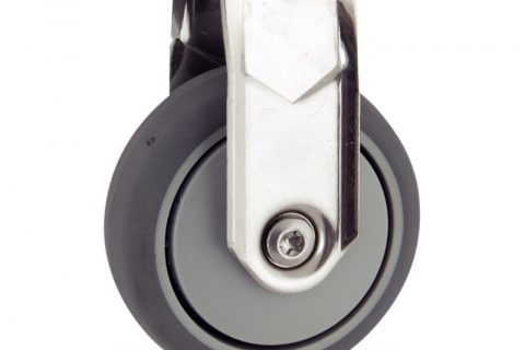 Stainless fixed caster 75mm for light trolleys,wheel made of grey rubber,plain bearing.Hollow rivet
