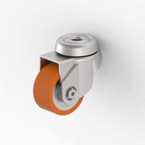 Zinc plated swivel caster 2 inches for heavy duty,wheel made of Polyurethane,double ball bearings.Bolt hole fitting