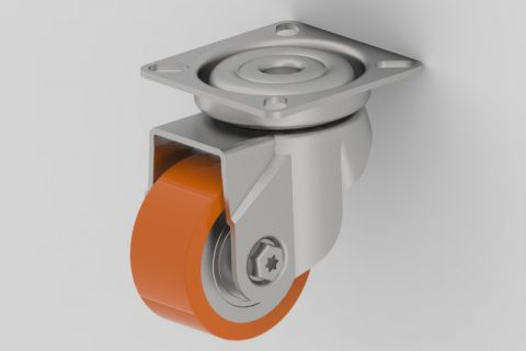 Zinc plated swivel caster 2 inches for heavy duty,wheel made of Polyurethane,double ball bearings.Top plate fitting