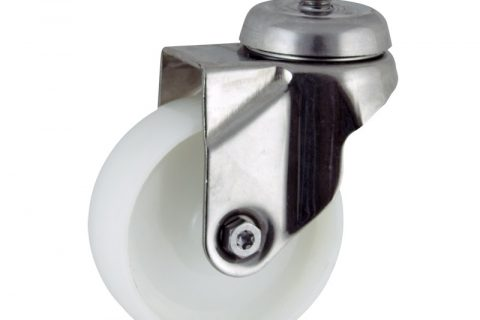Stainless swivel caster 75mm for light trolleys,wheel made of polyamide,plain bearing.Threaded stem fitting